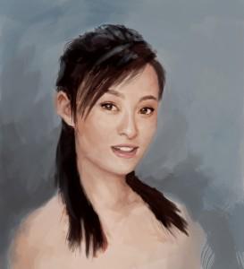 La vie d'une chinoise Shanghaienne, les chahuts de Sylvie Lin Jing dans A Shanghai Lady, Sylvie Lin Jing painting-chinese-girl-portrait-273x300